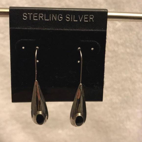 Jewelry - Genuine 925 sterling silver & onyx drop earrings